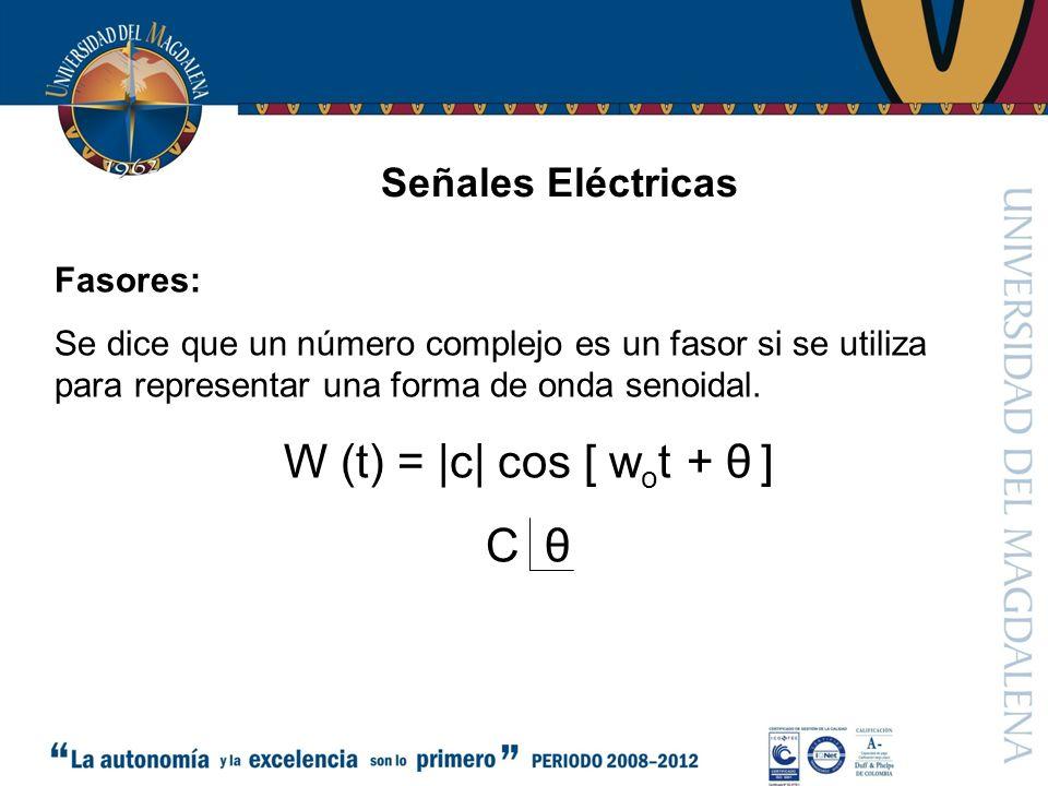 W (t) =  c  cos [ wot + θ ] C θ Señales Eléctricas Fasores: